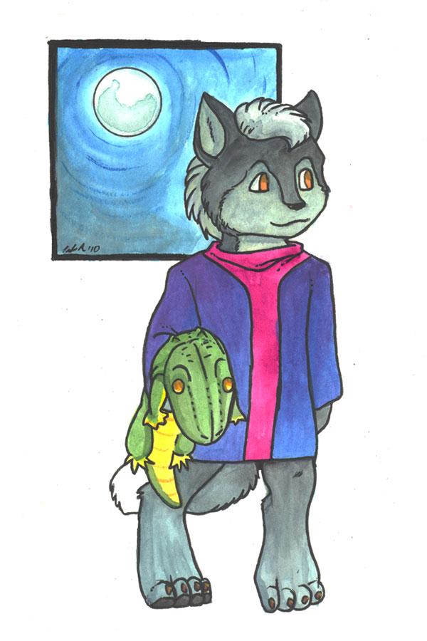 Darrik and Alligator Plush – Watercolor